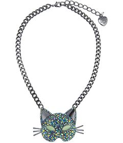 Betsey Johnson Pave Cat Pendant Necklace