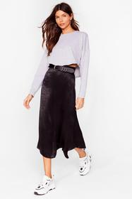 Nasty Gal Black Bias Cut and Run Satin Midi Skirt