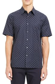Theory Irving Rhombus Slim Fit Short Sleeve Button