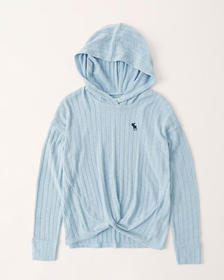 twist-front icon hoodie, LIGHT TURQUOISE
