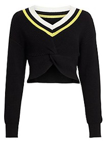 Alexander Wang Cropped Ribbed-Knit Varsity Sweater