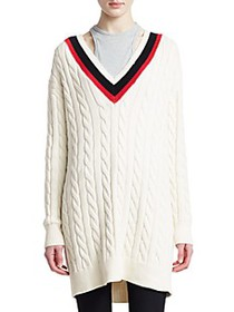 Alexander Wang Layered Varsity Longline Cable-Knit