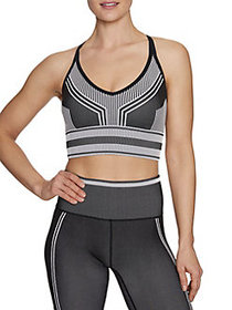 Betsey Johnson Striped Sports Bra BLACK