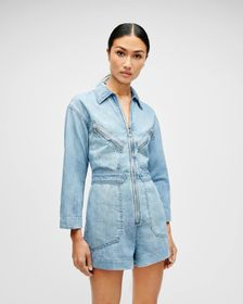 7 For All Mankind Zip Front Romper in Wilshire Blv