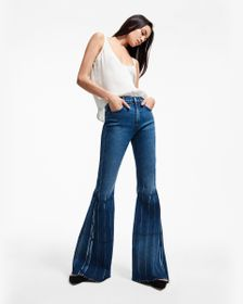 7 For All Mankind Mega Flare Pleated Jean in Green