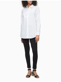 CALVIN KLEIN Womens White Long Sleeve Collared But
