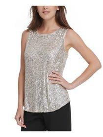 DKNY Womens Silver Sequined Sleeveless Jewel Neck