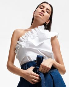 7 For All Mankind One Shoulder Ruffle Top in Optic