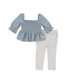 7 For All Mankind - Girls' Smocked Top & Jeans Set
