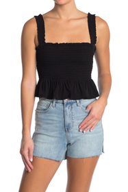 BCBGeneration Sleeveless Smocked Solid Top