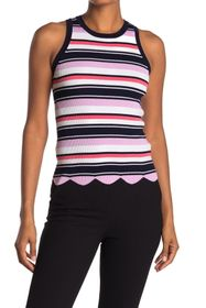 Laundry By Shelli Segal Striped Rib Knit Scalloped