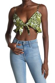 BCBGeneration Tie-Front Cropped Ruffle Cami