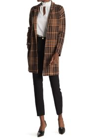 T Tahari Notch Collar Plaid Cardigan Sweater Coat