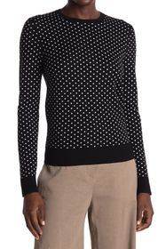 Theory Mini Polka Dot Wool Blend Crew Neck Sweater