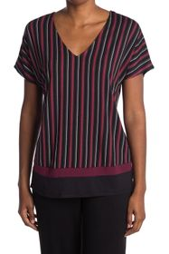 Donna Karan Striped Short Sleeve Pajama Top