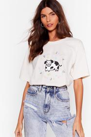 Nasty Gal Natural Cows From the Yard Graphic Tee