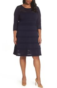 Vince Camuto Mixed Stitch Pointelle Fit & Flare Dr