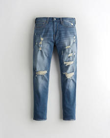 Hollister Taper Jeans, RIPPED MEDIUM WASH