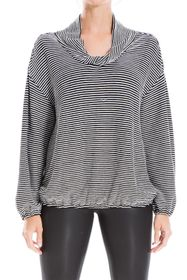 Max Studio Striped Twisted Cowl Neck Long Sleeve T
