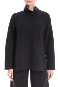 Max Studio Funnel Neck Button Dolman Sleeve Pullov