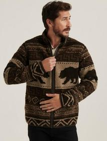 Lucky Brand Sherpa Jacquard Full Zip Mock Neck