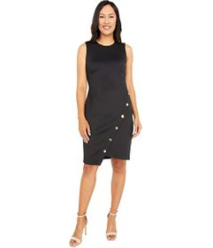 Tommy Hilfiger Scuba Asymmetrical Hem Sheath Dress