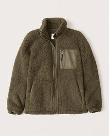 Sherpa Leather-Trim Jacket, OLIVE GREEN