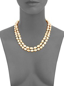Kenneth Jay Lane Simulated Pearl and Crystal Two-R