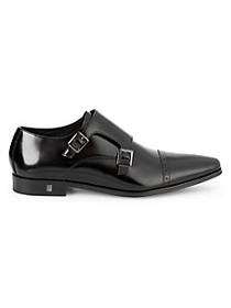 Versace Collection Patent Leather Monk Strap Shoes