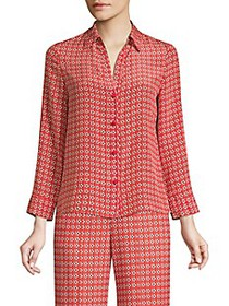 Alice + Olivia Eloise Printed Button-Down Blouse