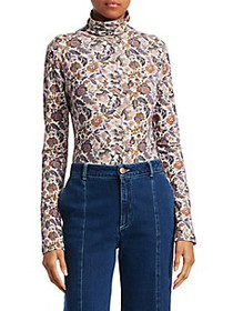 Chloé Floral Print Wool-Blend Turtleneck Sweater