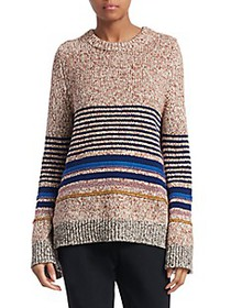 Chloé Stripe Metallic Long-Sleeve Knit Sweater