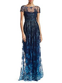 Marchesa Illusion Embroidered Floor-Length Gown