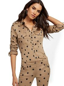 Petite Dot-Print Madison Stretch Shirt - Secret Sn