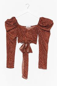 Nasty Gal Brown Tie Me Out Spotty Crop Blouse