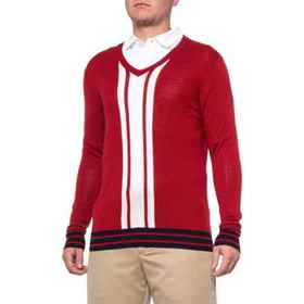 Bobby Jones Color-Block V-Neck Golf Sweater - Meri
