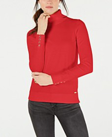 Cotton Button-Trim Turtleneck Sweater, Created for