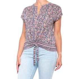 Lucky Brand Tie-Front Border Print Shirt (For Wome
