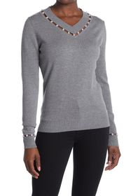 Love Token Haley Faux Pearl Embellished Sweater