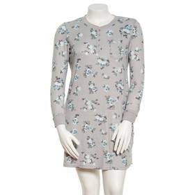Plus Size White Orchid Long Sleeve Floral Henley S