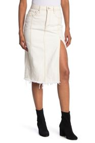 Free People Mambo Slit Denim Midi Skirt