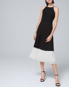 ADRIANNA PAPELL HALTER DRESS WITH PLEATED SKIRT
