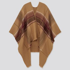 2-Way Double Face Big Checked Stole, Brown, Medium