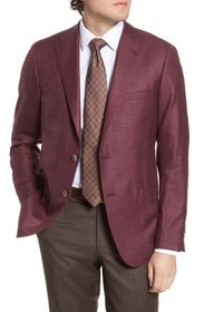 Hickey Freeman Classic Fit Solid Wool Blend Sport