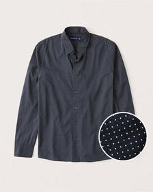 Lightweight Summer Button-Up Shirt, NAVY BLUE MICR