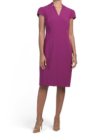 TAHARI BY ASL Fitted Notch Neck Dress With Cap Sle