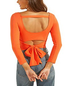 Jeani Solid Cutout Tie-Back Top
