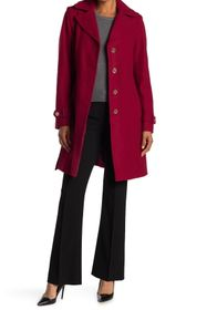 Michael Kors Missy Belted Wool Blend Trench Coat