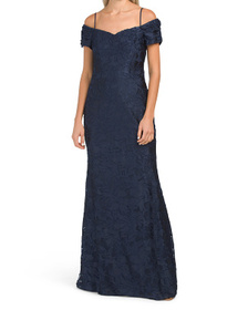 TAHARI BY ASL Cold Shoulder Gown