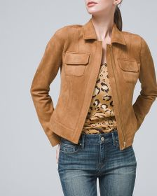 Cropped Faux-Suede Jacket